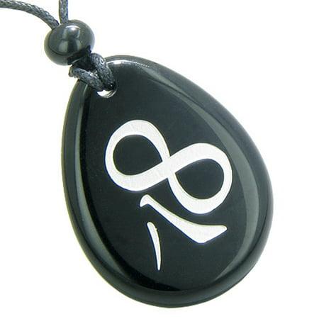 Magic Lucky Kanji Infinity Eight Symbol Spiritual Powers Amulet Black Agate Pendant Necklace Black Agate Oval Pendant