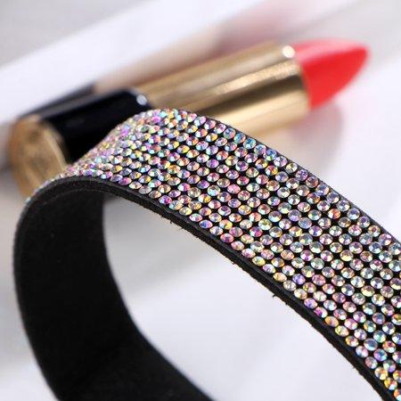 iLH Women Diamond Choker Crystal Rhinestone Charm Ladies Jewelry Necklace Multicolor Black Diamond Travel Jewelry