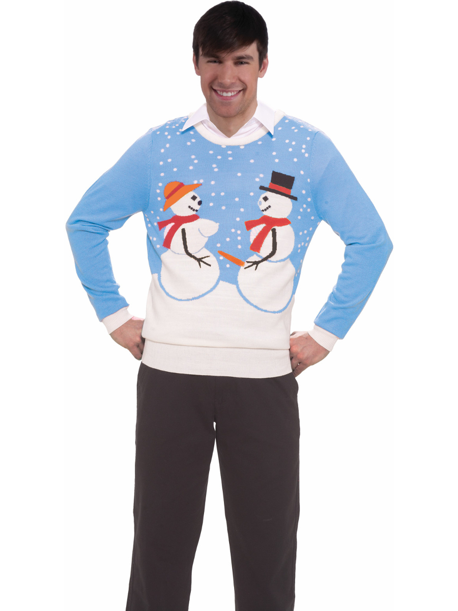 Forum Snowman Couple Funny Adult Humor Ugly Christmas Sweater, Blue ...