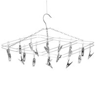Clothes Hanger 20 Clips Stainless Steel Clothespins Clothes Drying Rack Clothes Hanger for Hanging Socks Baby Clothes Cloth Diapers Bras Towel Underwear Gloves