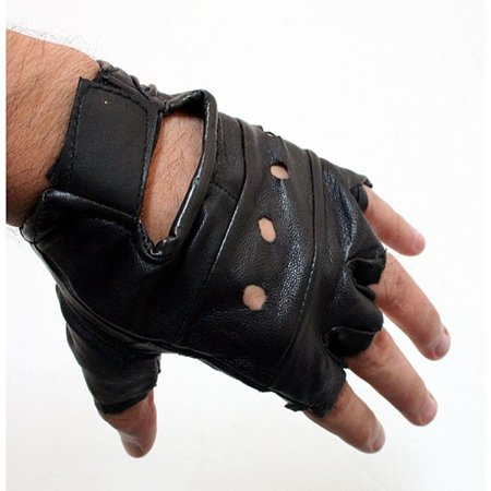 Defender  W278 Black Large Heavy Duty Leather Fingerless Gloves - Skeleton Fingerless Gloves