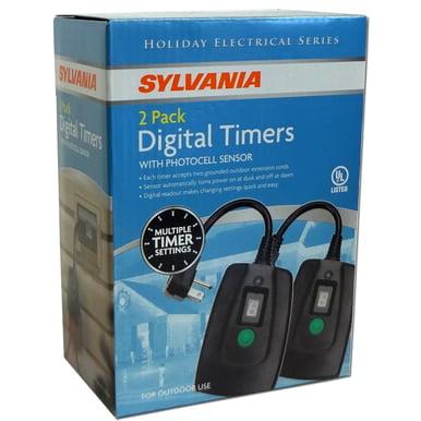 2-Pack Digital Timer Photocell Sensor Dusk to Dawn Dual Outlet Outdoor Timer  Garden BJ8 V2045-60 Dual Speed Pump Timer