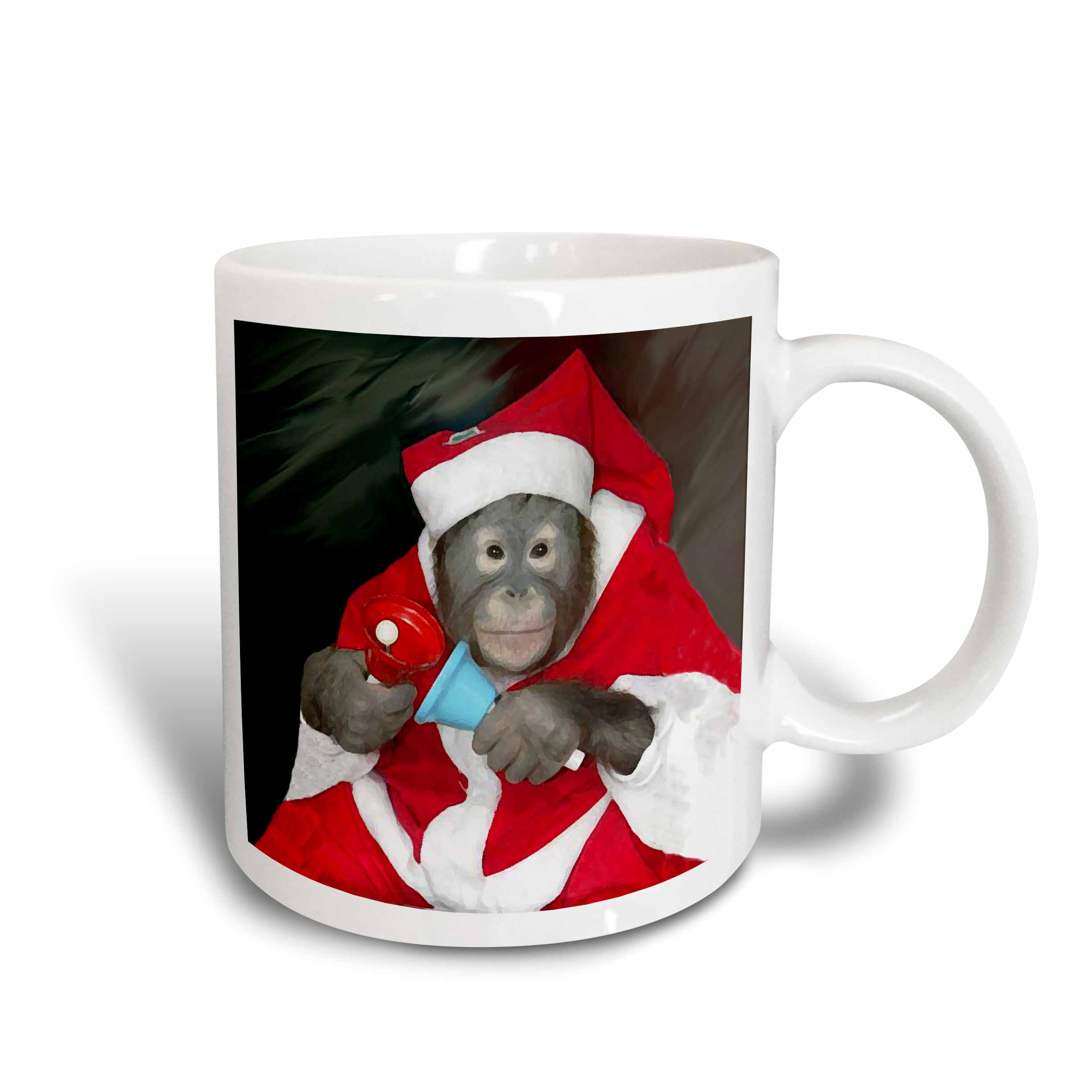 3dRose Christmas Monkey, Ceramic Mug, 11-ounce