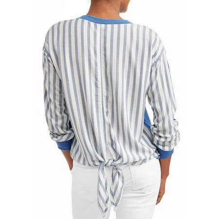 Women's Sweatshirt with Stripe Back (Ribbed Striped Sweatshirt)