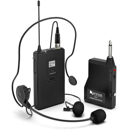 18 Inch Microphone (Fifine 20-Channel UHF1/4 Inch Output lavalier microphone headset microphone K037B)