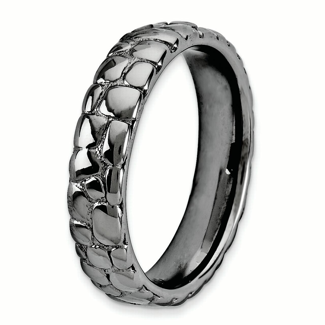 925 Sterling Silver Black Plated Band Ring Size 5.00 Stackable Fancy/ Fine Jewelry Gifts For Women For Her - image 2 of 4