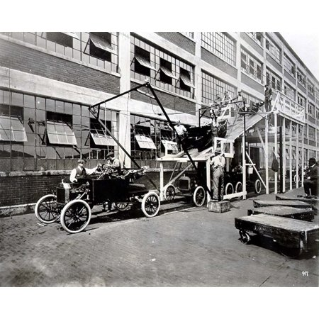 Ford Motor Co-The Final Assembly Line At The Ford Motor CompanyS Highland Park Plant Bodies Were Skidded Down The Wooden Ramp And Lowered Onto The Chassis As They Moved Along Below1913 - Cpl ArchivesE