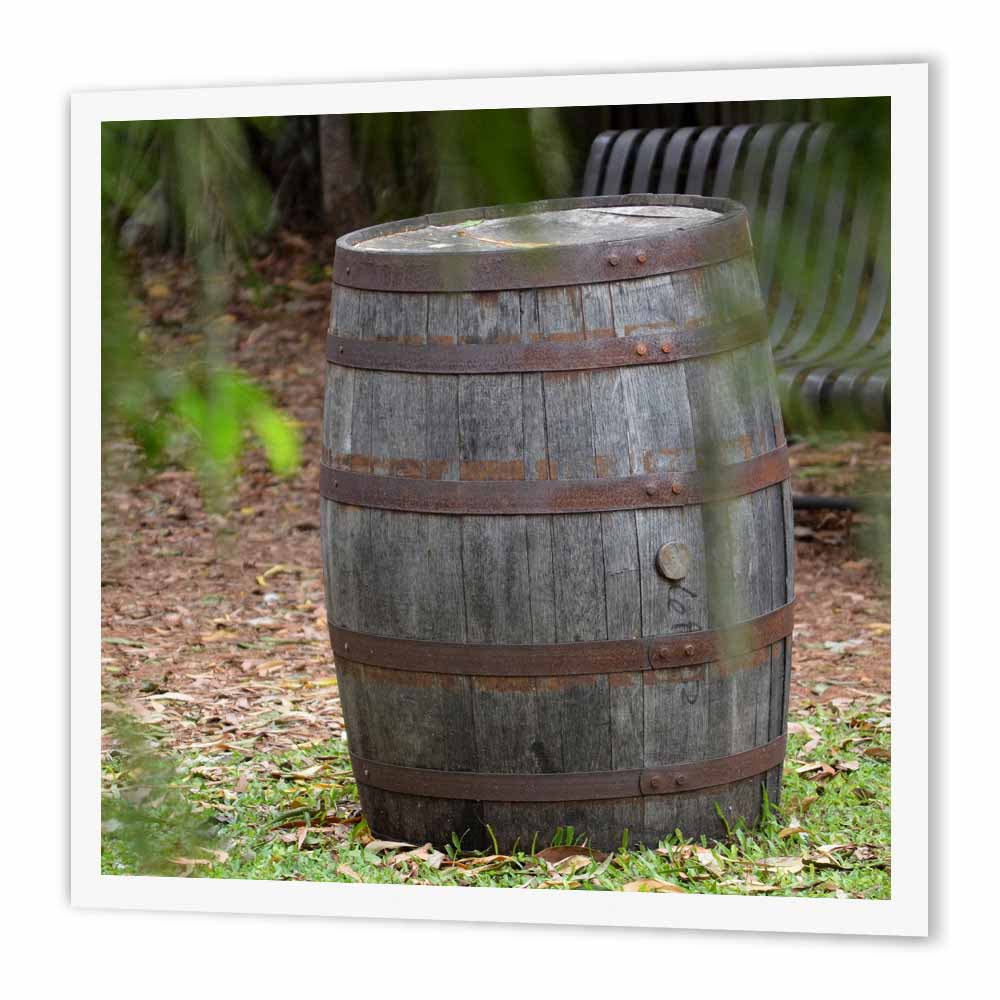3dRose wooden barrel frond near, Iron On Heat Transfer, 8 by 8-inch, For White Material