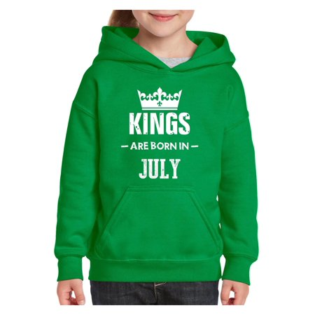 e1421358e Birthday Gift Kings Are Born in July Unisex Hoodie For Girls and Boys Youth  Sweatshirt