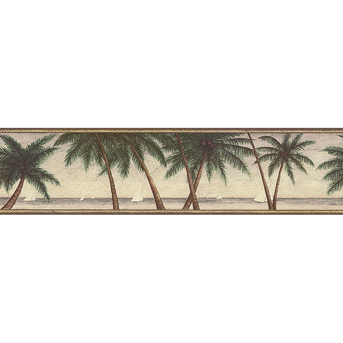 Scenic Palm Tree Wallpaper Border