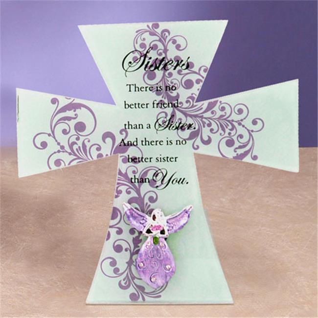 Unison Gifts HOLC-159 8 x 8 inch Purple Sisters Cross