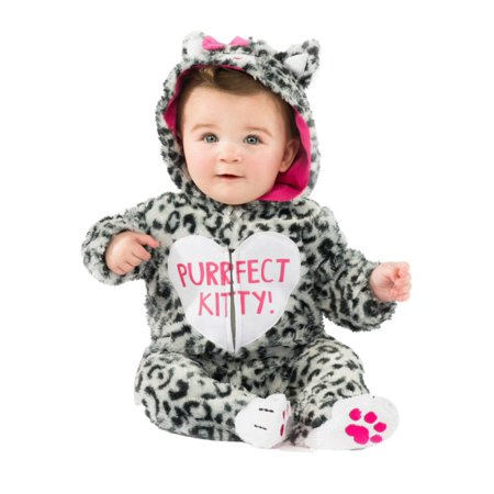 Infant Girls Plush Gray Leopard Print Purfect Kitty Costume Baby Cat Jumper