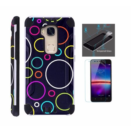 For Huawei Sensa 4G LTE Case + Tempered Glass Screen Protector / Slim Dual Layer Brushed Texture Armor Hybrid TPU KomBatGuard Phone Cover (Rainbow Bubble)