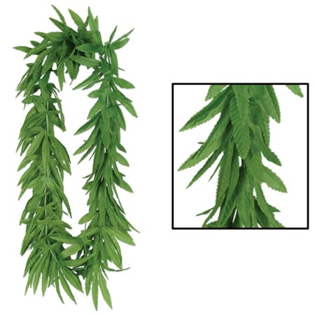 Club Pack of 12 Green Artificial Fern Leaf Tropical Lei Necklaces - Artificial Leis