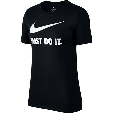 Nike Just Do It Swoosh Logo Women 39 S T Shirt Black White