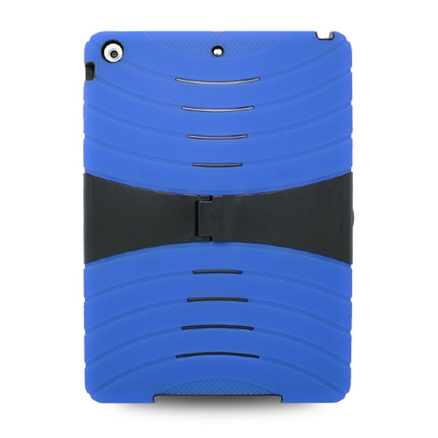 iPad Air Cover Case, by Insten Dual Layer [Shock Absorbing] Hybrid Stand Rubber Silicone/Plastic Cover Case For Apple iPad Air, Blue/Black