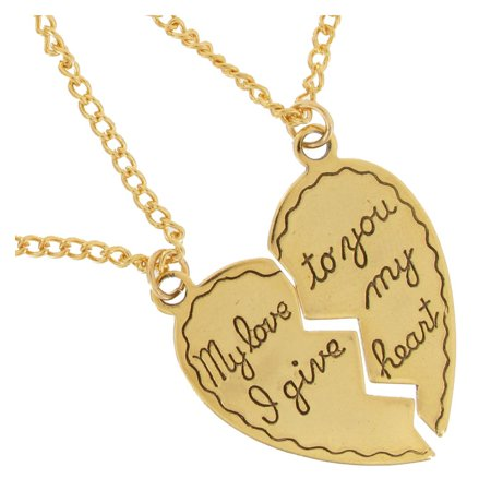 My love I give to you my heart Broken Heart Sweetheart Couples Pendant Necklaces Gold Tone  Set 2
