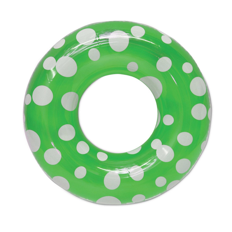 """36"""" Green Polka Dot Inflatable Swimming Pool Inner Tube"""