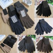 Autumn Winter Mens Knitted Gloves Male Thicken Thermal Wool Gloves Mittens