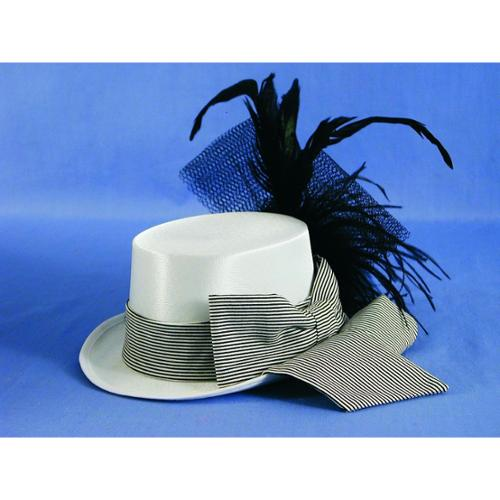 Mini White Satin w/Feather Costume Top Hat