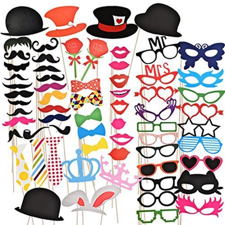 Photo Booth Props (50Pcs) for Her Him Funny DIY Birthday Party Decorations, Birthday Party Supplies for Men and Women - Halloween Party Booth Ideas