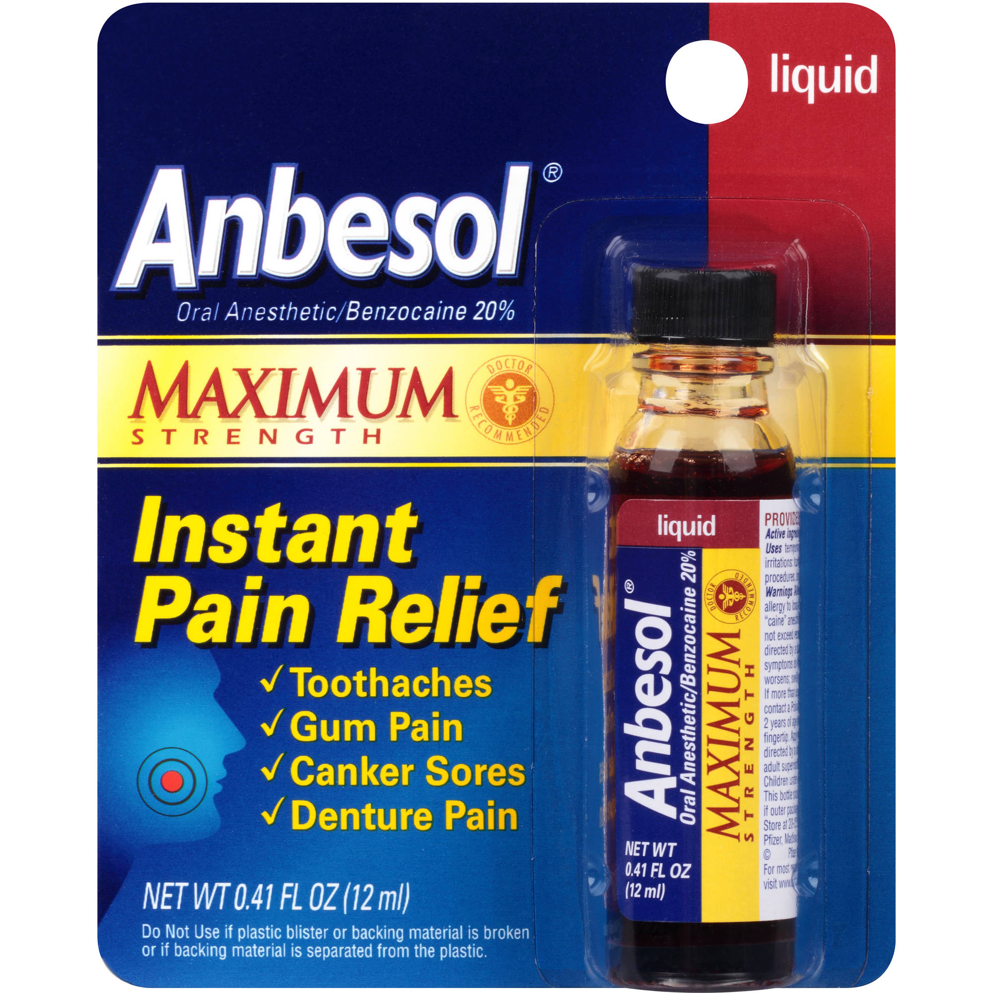 Anbesol Maximum Strength Oral Anesthetic Liquid 0.41 fl oz