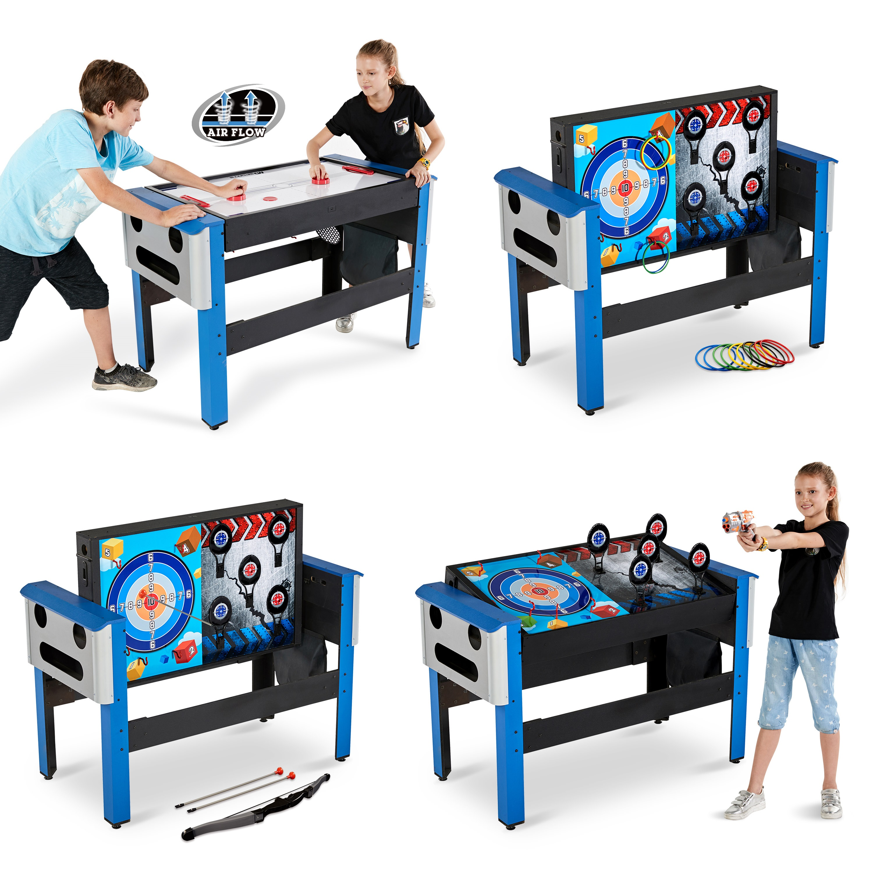 MD Sports 48 Inch 4-IN-1 Swivel Combo Game Table, Air Powered Hockey, Archery, Target Shooting and Ring Toss