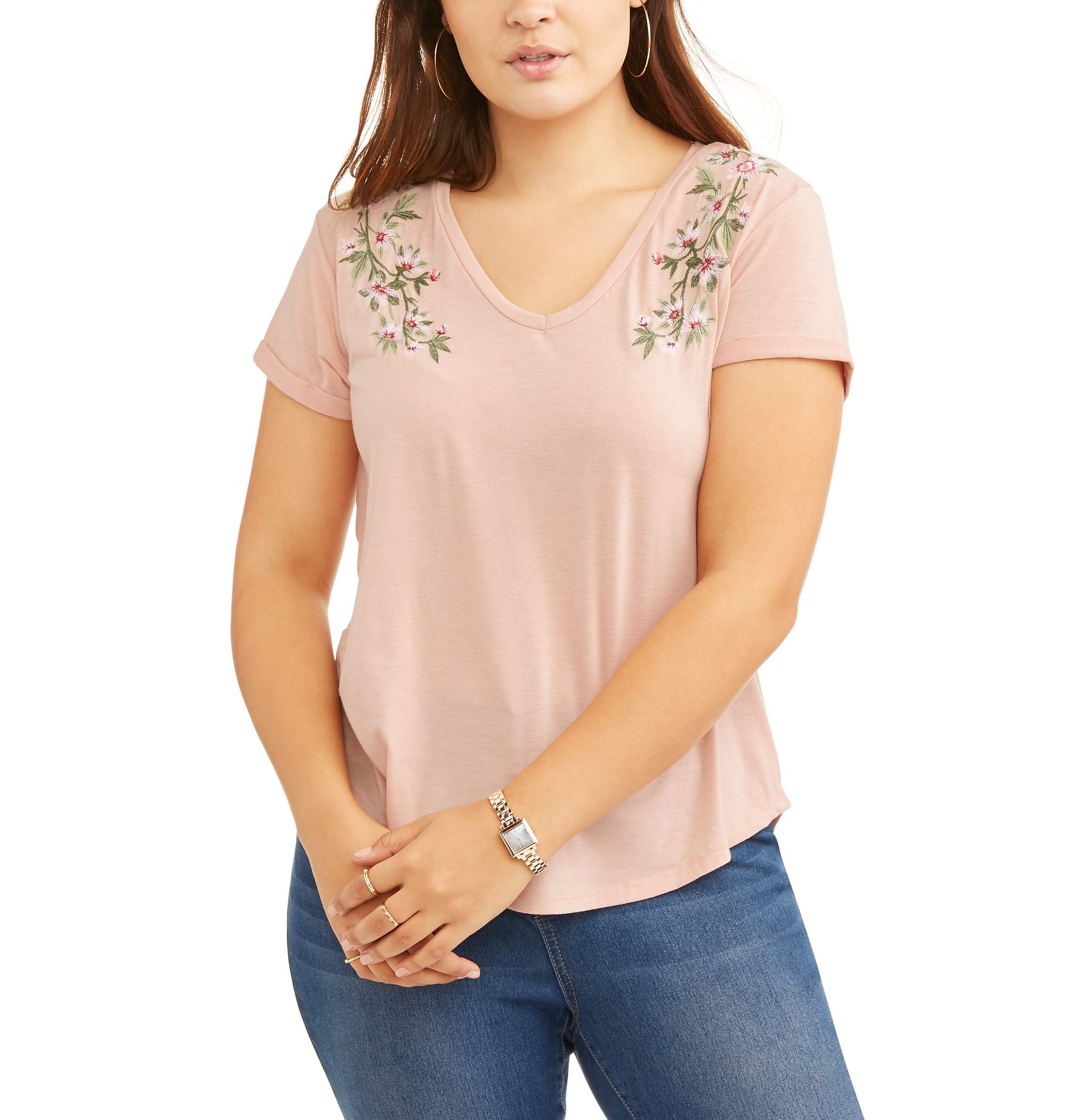 Poof Women's Plus V-Neck Top with Floral Detail