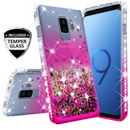 Compatible for Samsung Galaxy S9 Plus Case, with [Temper Glass Screen  Protector] SOGA Diamond Glitter Liquid Quicksand Cover Cute Girl Women  Phone