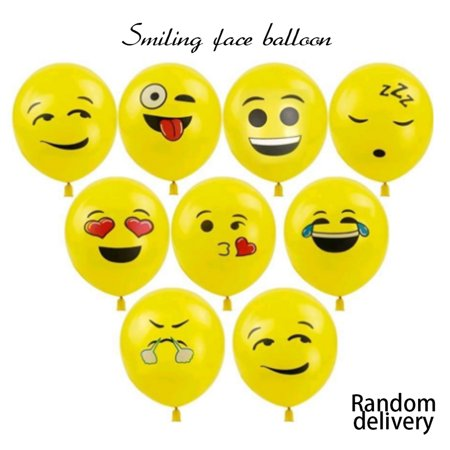 Cute Printed Big Eyes Face Smiley Face Latex Balloons for Party Birthday or Holiday Decoration Style 1 Pack of 10 Multi-color - image 4 of 7