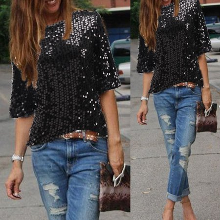 Women Sloping Shoulder Glistening Sequin Shirt Tops Blouses Women T Shirts Black Size