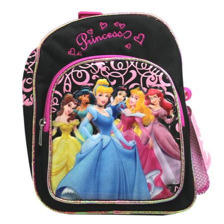 Disney Princess Black/Magenta Group Picture Mini Toddler Backpack (10in) ()