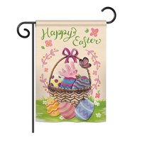 "Ornament Collection - Happy Easter Colourful Basket Eggs Spring - Seasonal Easter Impressions Decorative Vertical Garden Flag 13"" x 18.5"" Printed In USA"
