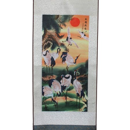 Cranes in The Sunset Hanging Scroll Painting Home Decor Housewarming Gift New