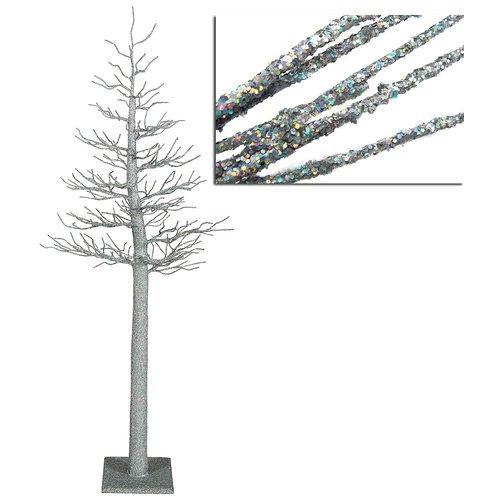 Vickerman 4' Silver Glitter Metallic Artificial Christmas Display Tree