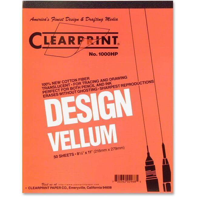 "Clearprint Plain Vellum Pad - 50 Sheets - Plain - 16 lb Basis Weight - Letter 8.50"" x 11"" - White Paper - 50 / Pad"