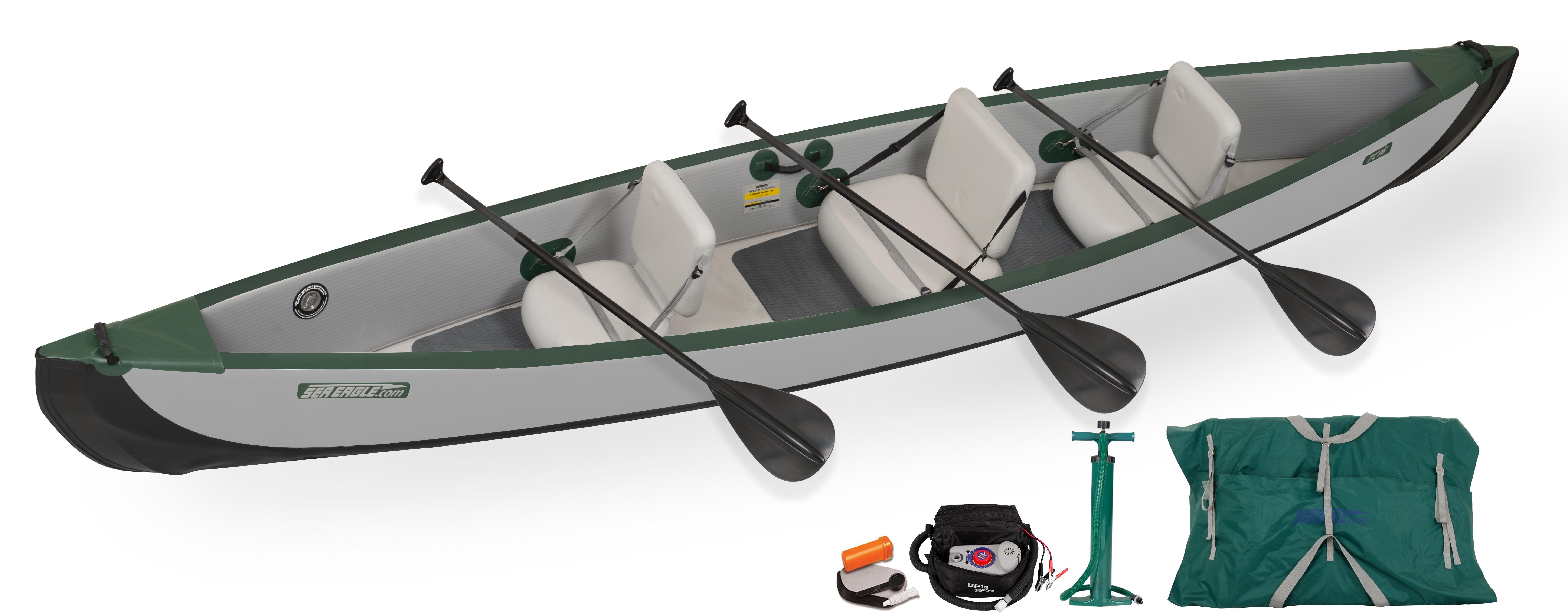 Sea Eagle TC16 Inflatable Travel Canoe 3 Person Electric Pump Package by Sea Eagle Boats, Inc.