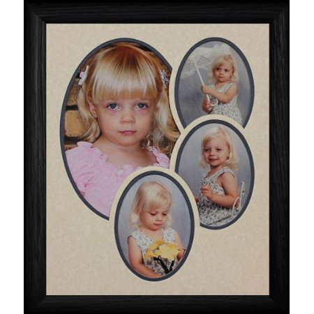 8X10 Oval 4-Opening Cream/Navy Double Matted Collage With Oak Black Picture - Ooak Collage