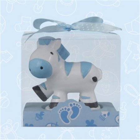 Baby Shower Zebra Safari Candle Favors in Blue