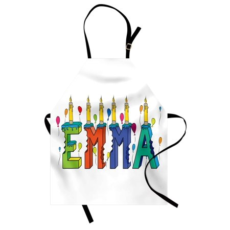 Emma Apron Popular Female First Name Design with Many Colors Candles and Balloons Birthday Theme, Unisex Kitchen Bib Apron with Adjustable Neck for Cooking Baking Gardening, Multicolor, by Ambesonne