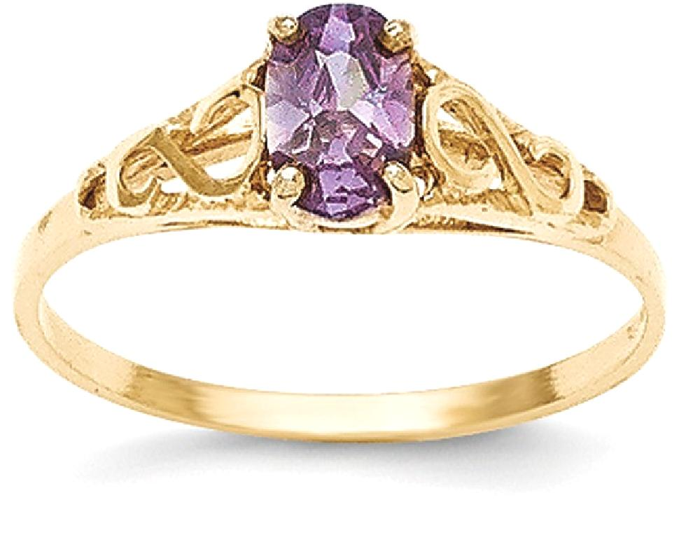 ICE CARATS ICE CARATS 14kt Yellow Gold Synthetic Purple Amethyst Band Ring Size 5.00 Baby Fine Jewelry Ideal Gifts For... by IceCarats Designer Jewelry Gift USA