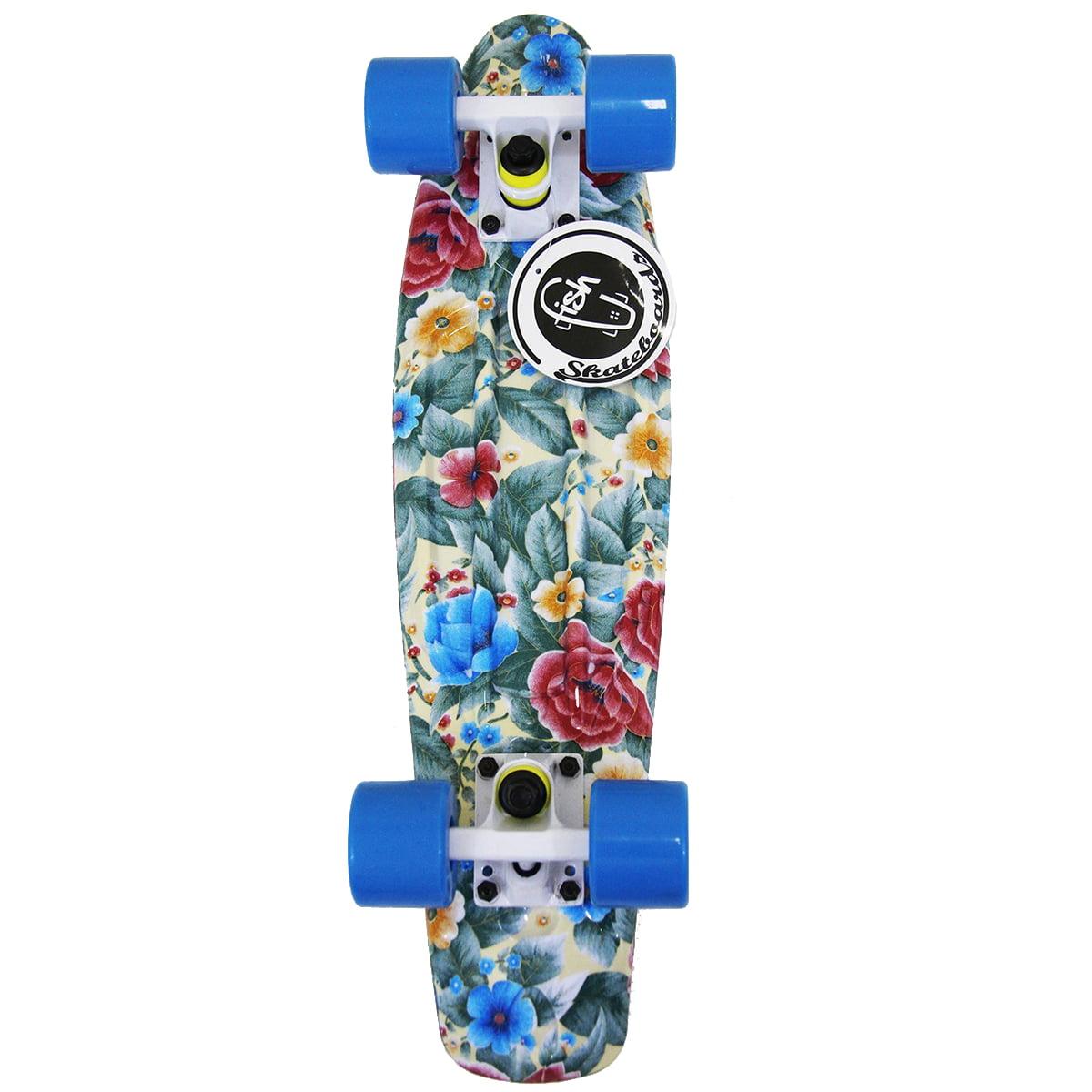 """Fish Skateboard Floral Plastic 22"""" Retro Penny Shipping Cruiser Beach Sidewalk"""