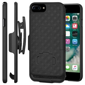 Premium Shell Holster Combo Slim Shell Case Built in Kickstand + Swivel Belt Clip Holster for iPhone 7 Plus - Black