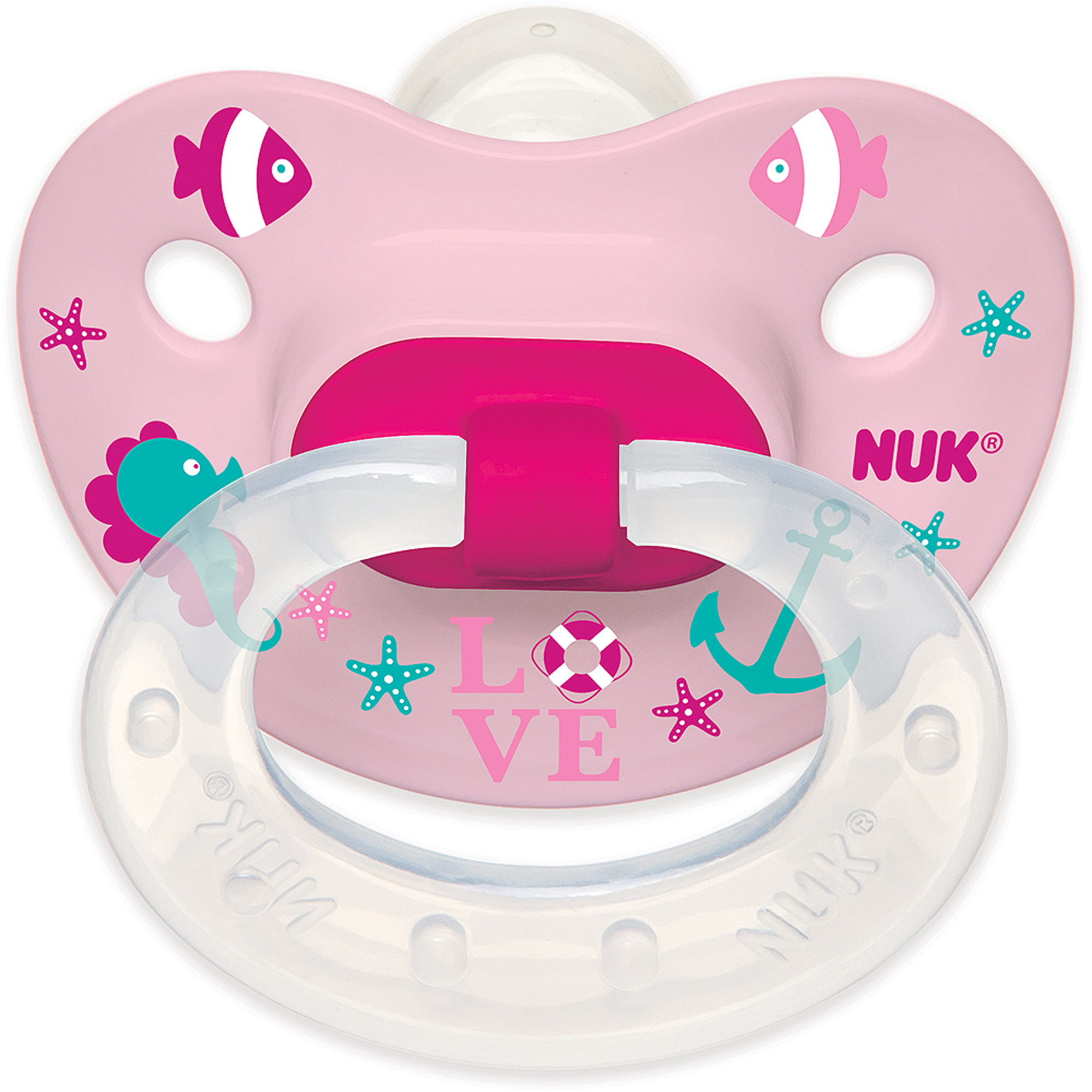NUK Summer Nautical Silicone Puller Pacifier, Girl Designs, 6-18 Months, 2-Pack