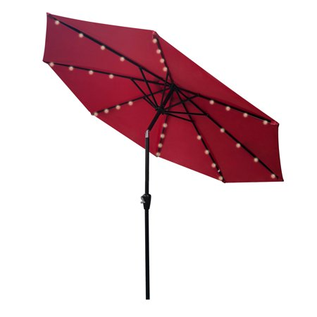 Image of Vidagoods Solar LED 9' Round 100% Solution-dyed Polyester Outdoor Backyard Patio Umbrella with Crank Auto Tilt – 4 Years Colorfastness Warranty - UV Coating + PU Coating (Red)