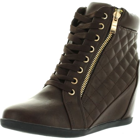 0ee7b4faaf3 Forever Link Womens Fashion Gladys-25 Leather PU Lace Up Quilted Ankle High  Wedge Sneakers - Walmart.com