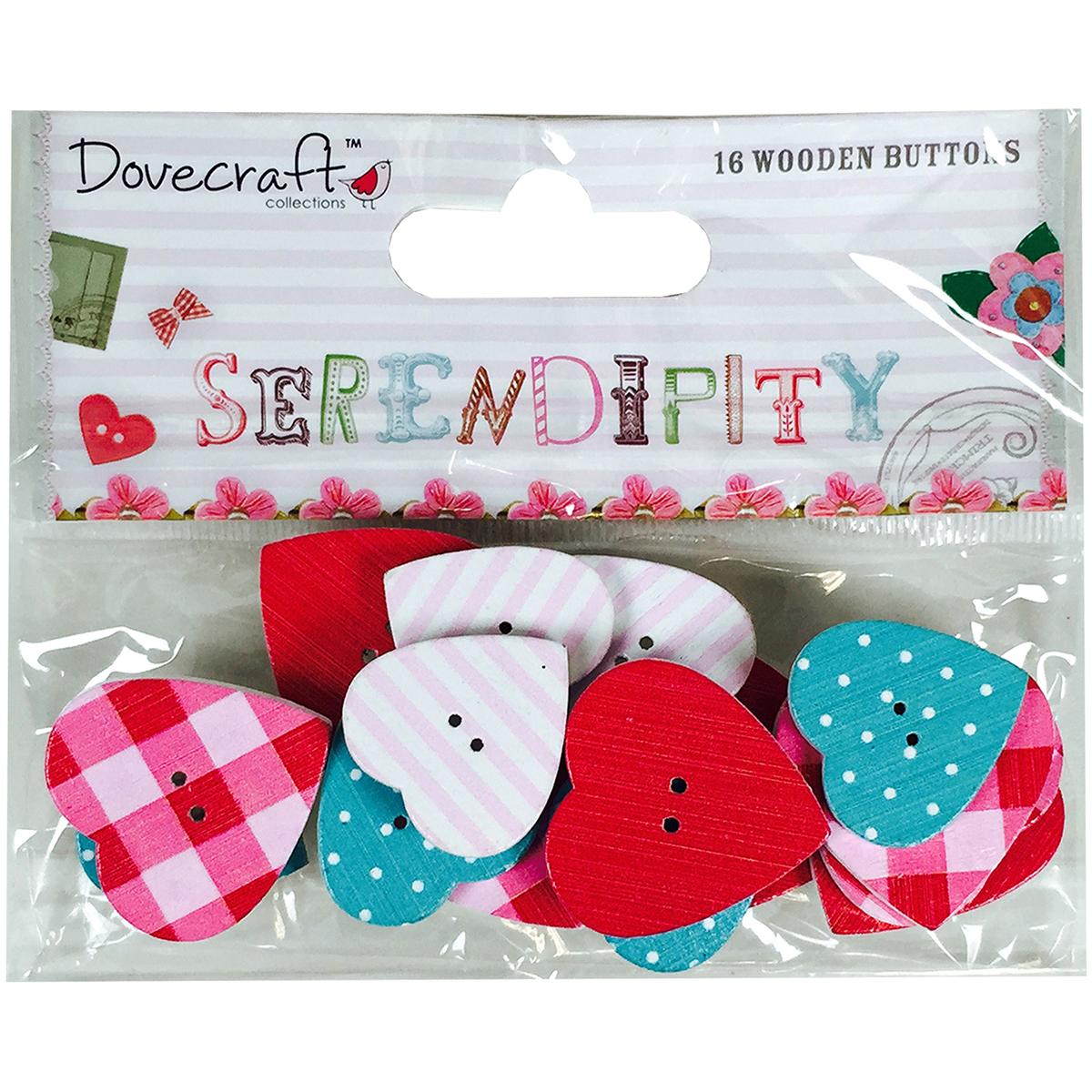 Dovecraft Serendipity Wooden Buttons 16/Pkg-Printed Heart