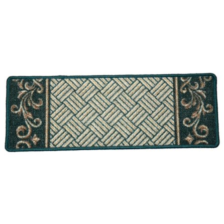 Dean Washable Non-Skid Carpet Stair Treads - Hunter Green Scroll Border (Set of 15)
