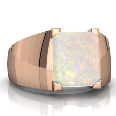 Opal Men's Ring in 14K Rose Gold