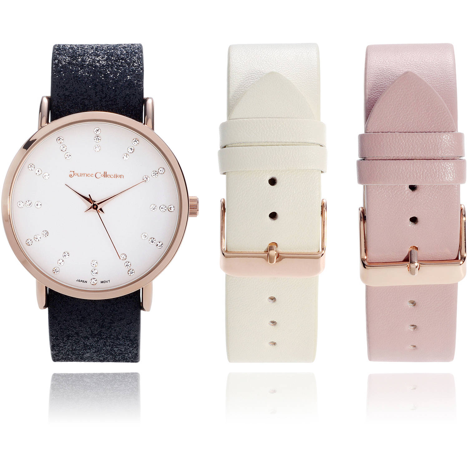 Journee Collection Women's Rhinestone Interchangeable Leather Strap Fashion Watch, Rose Gold